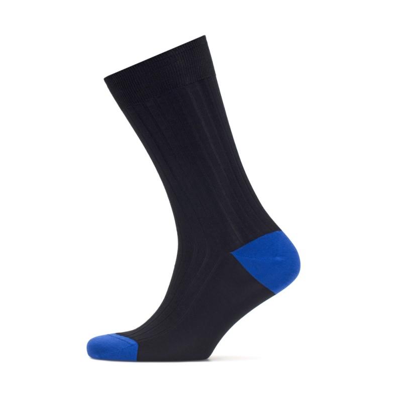 Bresciani - Bresciani Laci Çizgili Burun Ve Topuk Saks Mavi Çorap (1)