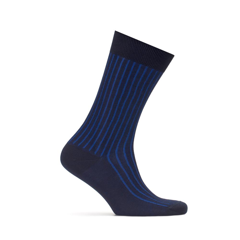 Bresciani Lacivert Saks Mavi Çizgili Çorap