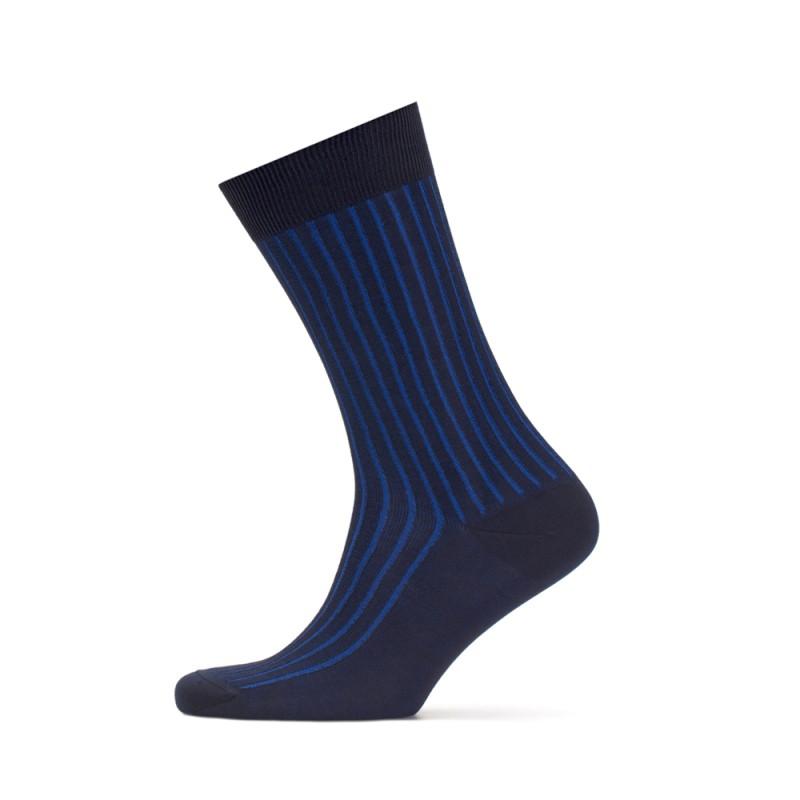 Bresciani - Bresciani Lacivert Saks Mavi Çizgili Çorap (1)