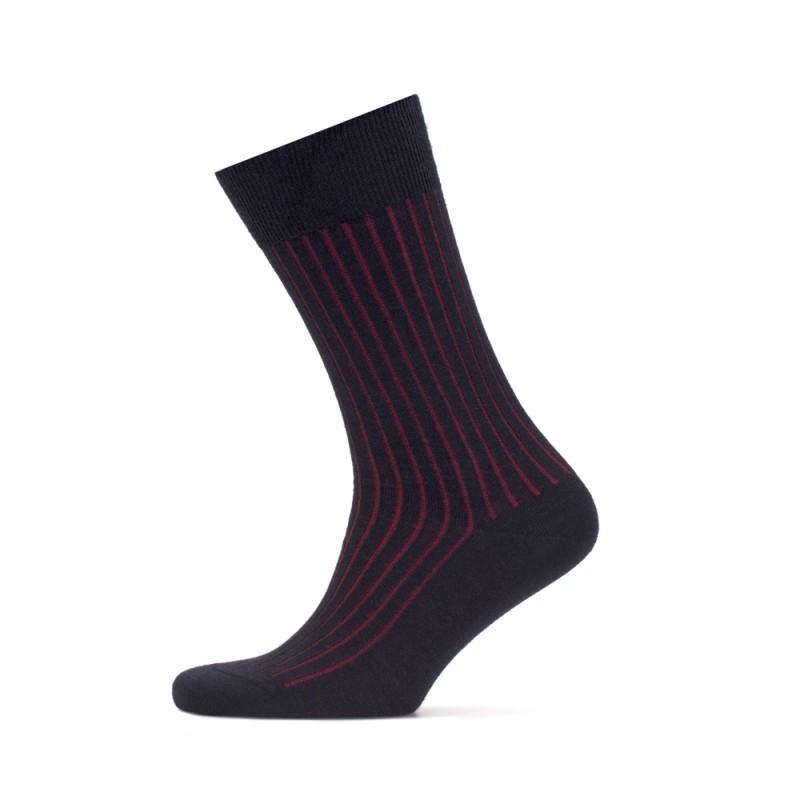 Bresciani - Bresciani Lacivert Kırmızı Çizgili Çorap (1)
