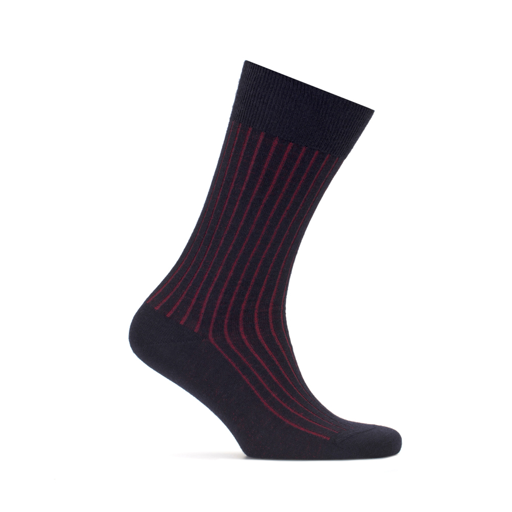 Bresciani Lacivert Kırmızı Çizgili Yün Çorap