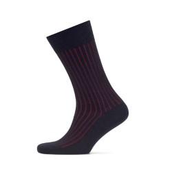 Bresciani - Bresciani Lacivert Kırmızı Çizgili Yün Çorap (1)
