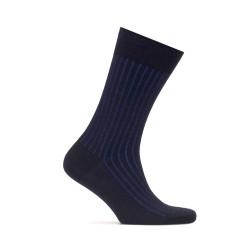 Bresciani - Bresciani Lacivert Mavi Çizgili Yün Çorap