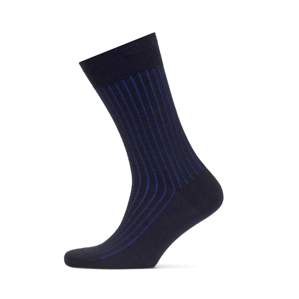 Bresciani Lacivert Mavi Çizgili Yün Çorap