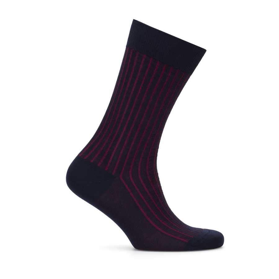 Bresciani Navy Blue Claret Red Striped Socks