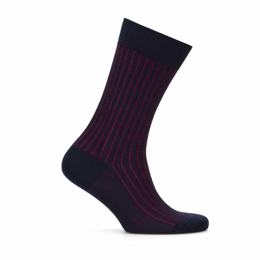 Bresciani - Bresciani Navy Blue Claret Red Striped Socks