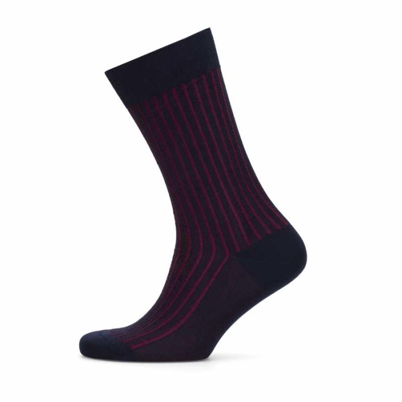 Bresciani - Bresciani Navy Blue Claret Red Striped Socks (1)