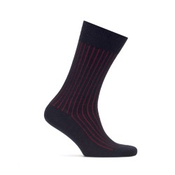 Bresciani - Bresciani Navy Blue Red Striped Socks