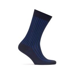 Bresciani Navy Blue Striped Socks - Thumbnail