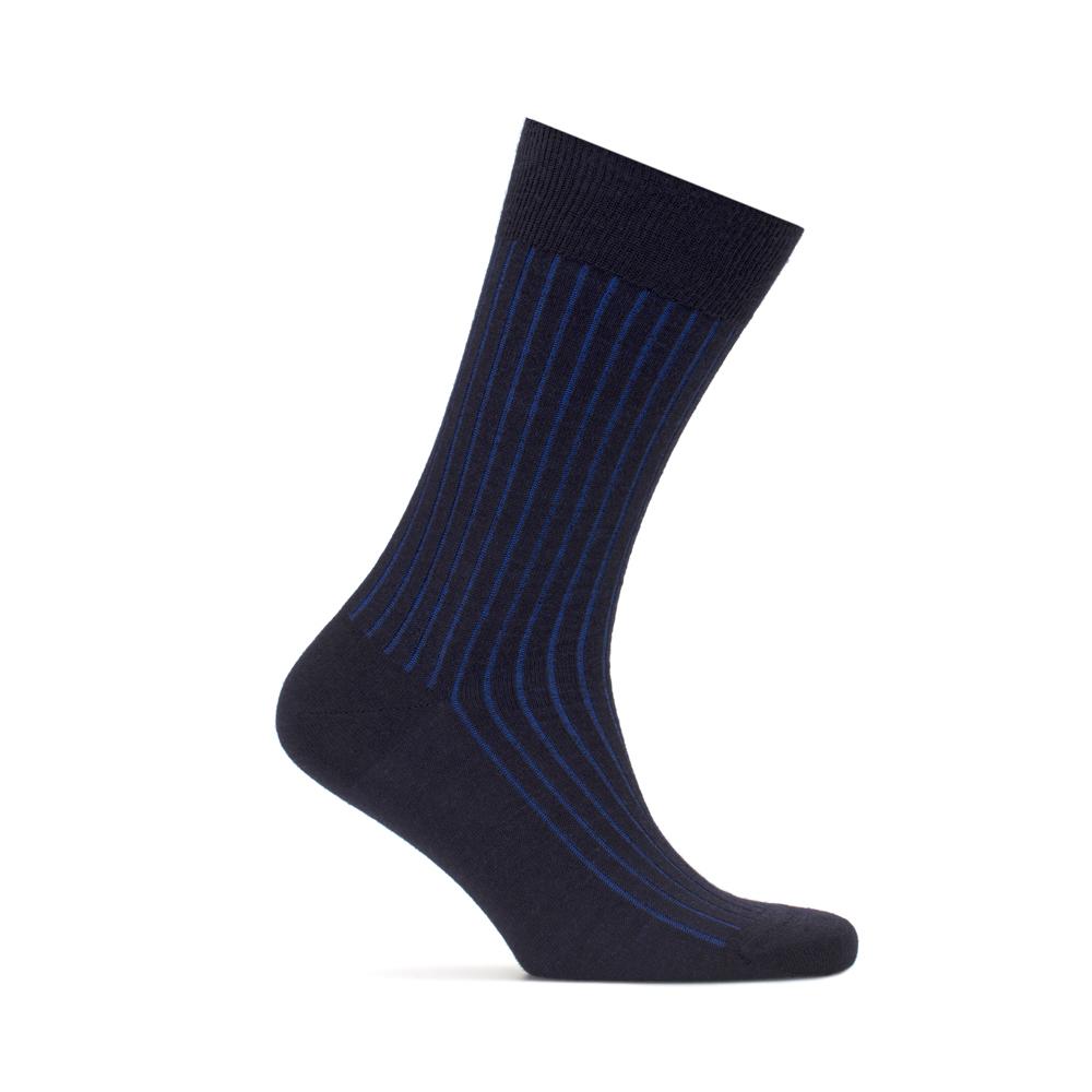 Bresciani Navy Blue Striped Socks