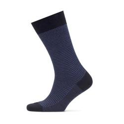 Bresciani - Bresciani Pied De Poul Navy Blue Socks (1)
