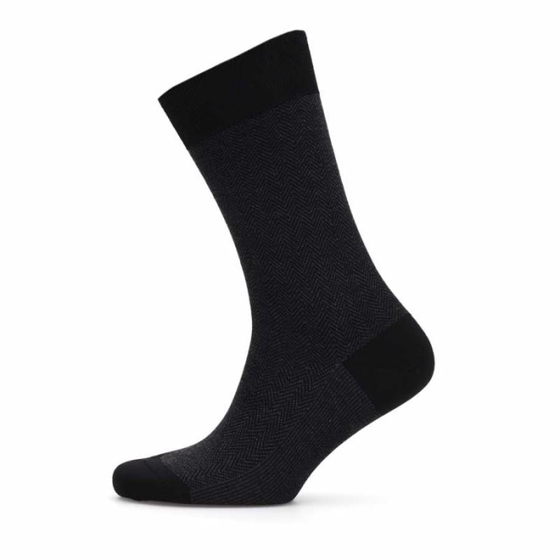 Bresciani - Bresciani Siyah Anthracite Herringbone Socks (1)