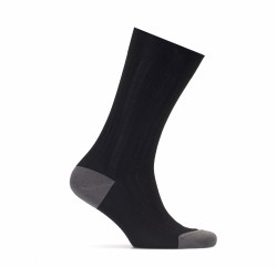 Bresciani - Bresciani Siyah Çizgili Burun Ve Topuk Düz Gri Çorap