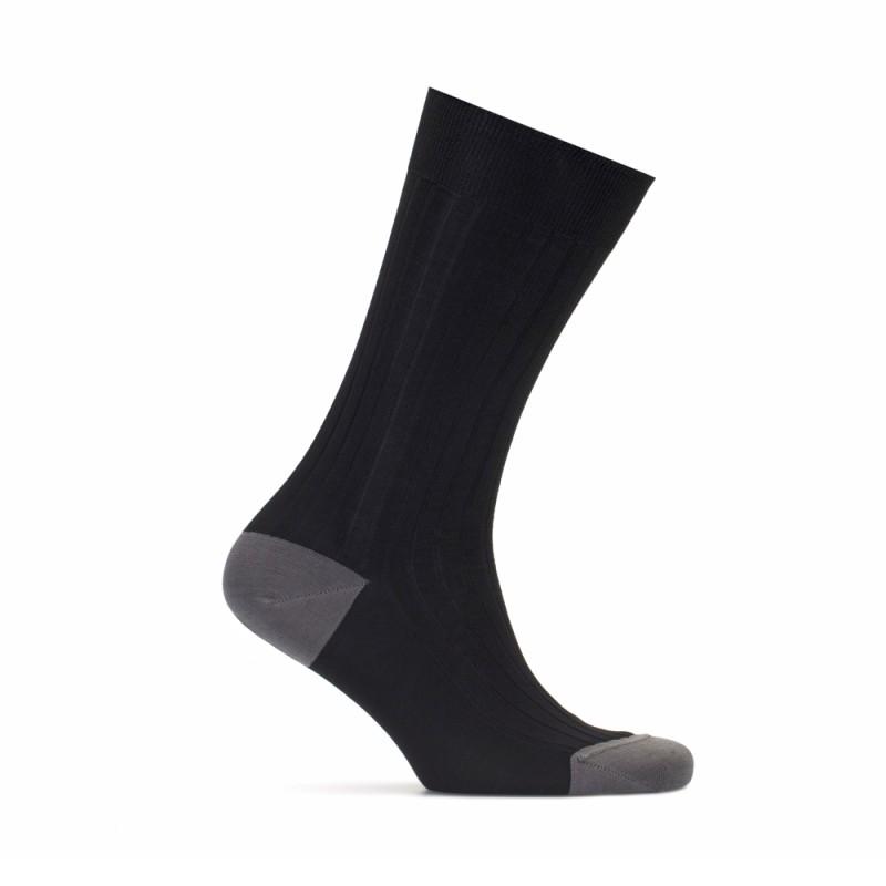 Bresciani Siyah Çizgili Burun Ve Topuk Düz Gri Çorap