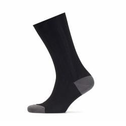 Bresciani - Bresciani Siyah Çizgili Burun Ve Topuk Düz Gri Çorap (1)