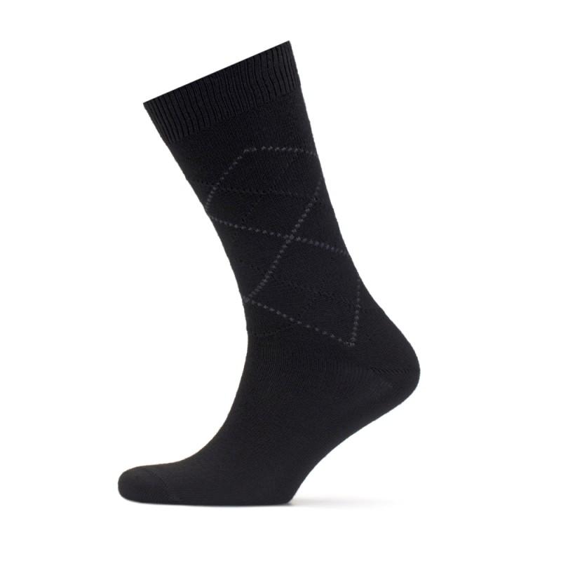 Bresciani - Bresciani Siyah Gri Baklava Çorap (1)