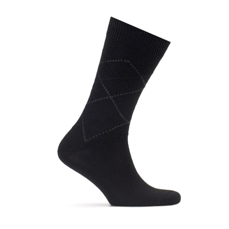 Bresciani Siyah Gri Baklava Yün Çorap