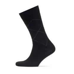Bresciani - Bresciani Siyah Gri Baklava Yün Çorap (1)