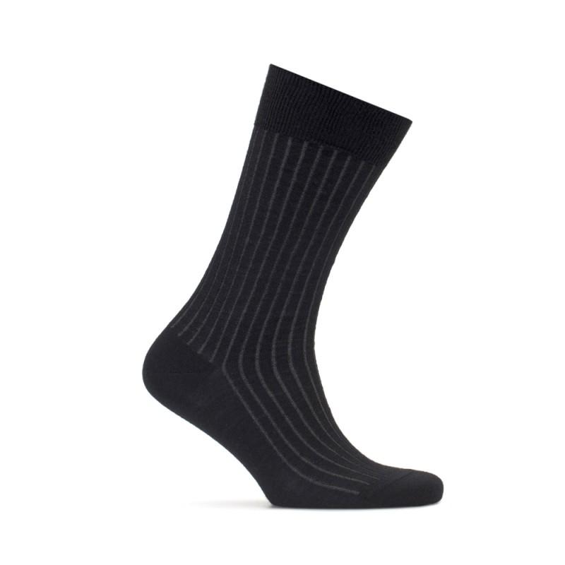 Bresciani - Bresciani Siyah Gri Çizgili Çorap