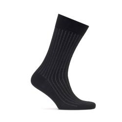 Bresciani Siyah Gri Çizgili Yün Çorap - Thumbnail