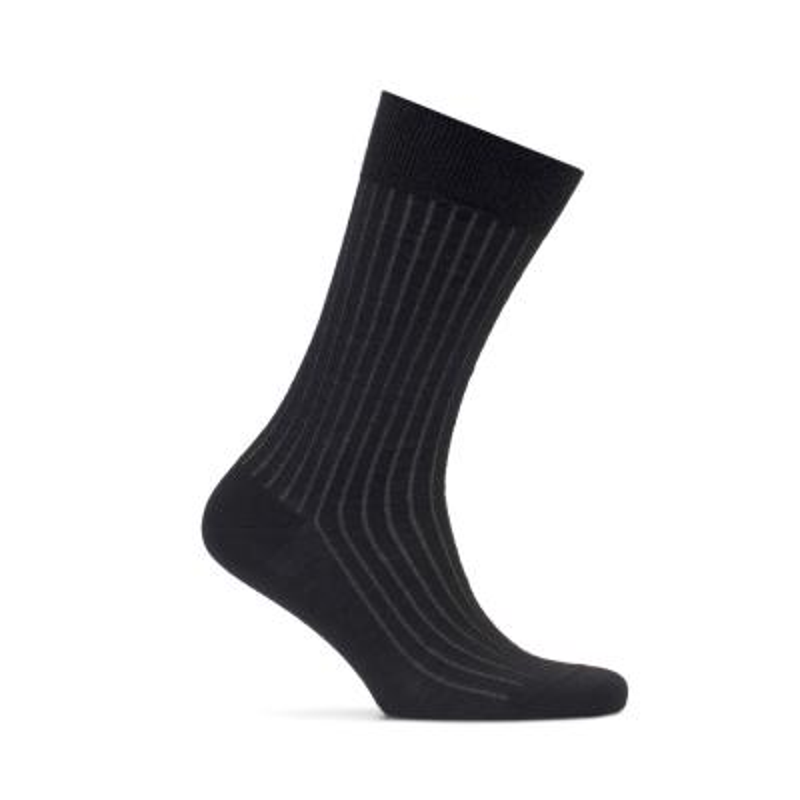 Bresciani - Bresciani Siyah Gri Çizgili Yün Çorap
