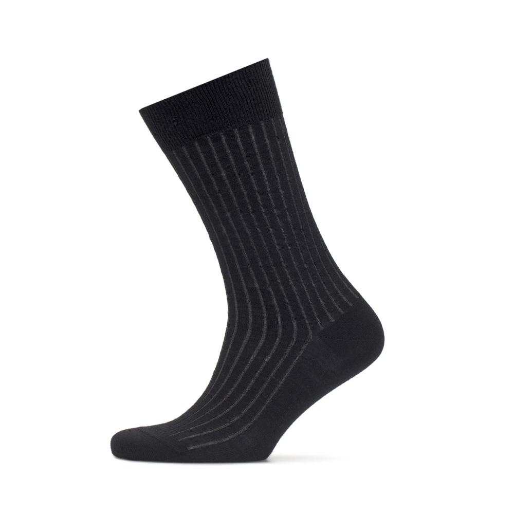 Bresciani Siyah Gri Çizgili Yün Çorap