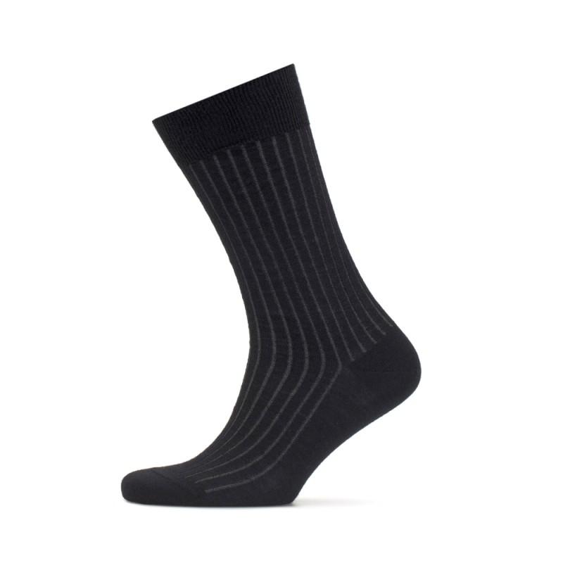 Bresciani - Bresciani Siyah Gri Çizgili Yün Çorap (1)