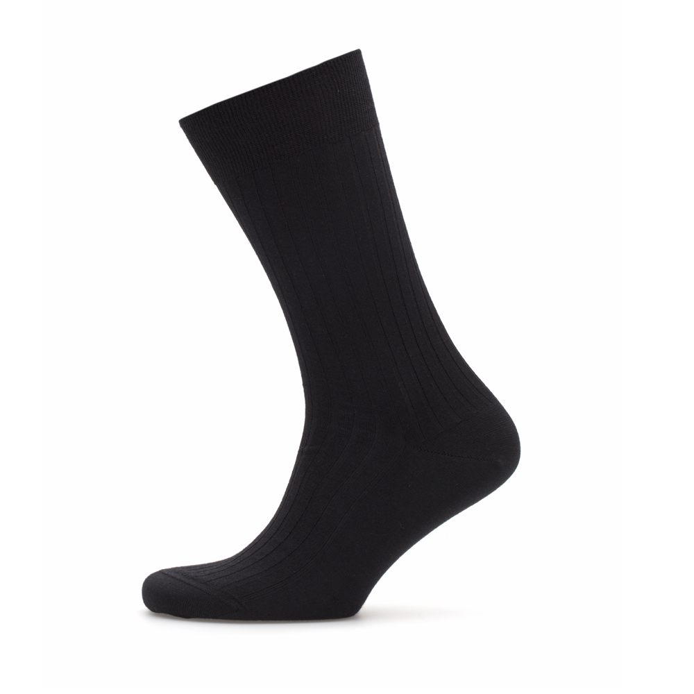 Bresciani Black Stripe Wool Socks