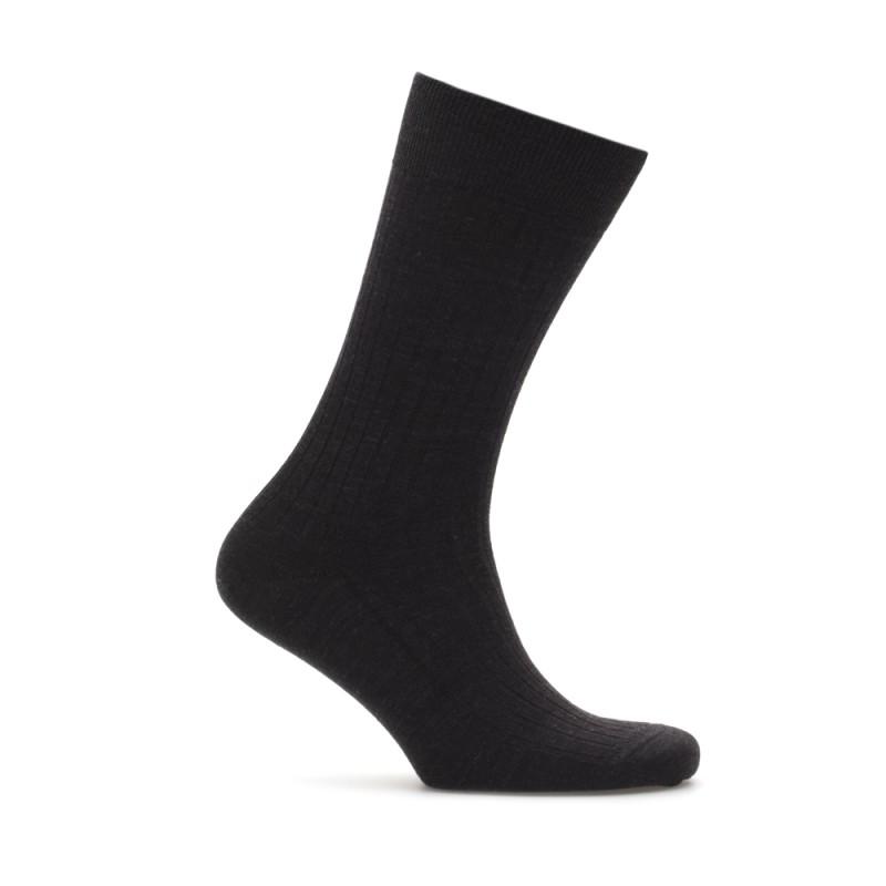Bresciani Black Stripe Wool Socks