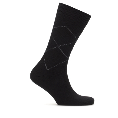 Bresciani Brown Argyle Wool Socks