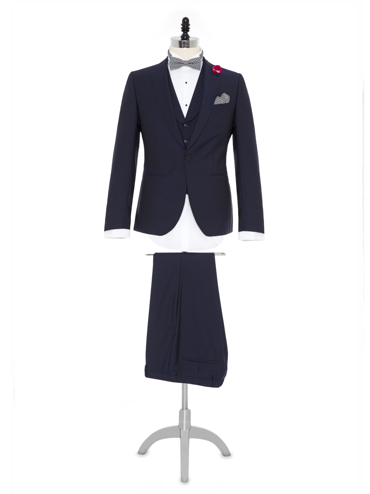 Carl Gross %100 Yün Lacivert Kendinden Desenli Peak Lapel Yaka Slim Fit Yelekli Smokin Takım Elbise
