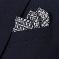 Carl Gross %100 Yün Lacivert Kendinden Desenli Peak Lapel Yaka Slim Fit Yelekli Smokin Takım Elbise - Thumbnail