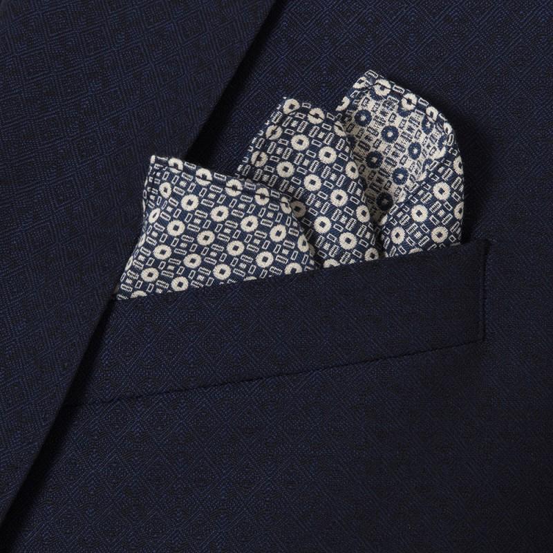 Carl Gross - Carl Gross %100 Yün Lacivert Kendinden Desenli Peak Lapel Yaka Slim Fit Yelekli Smokin Takım Elbise (1)