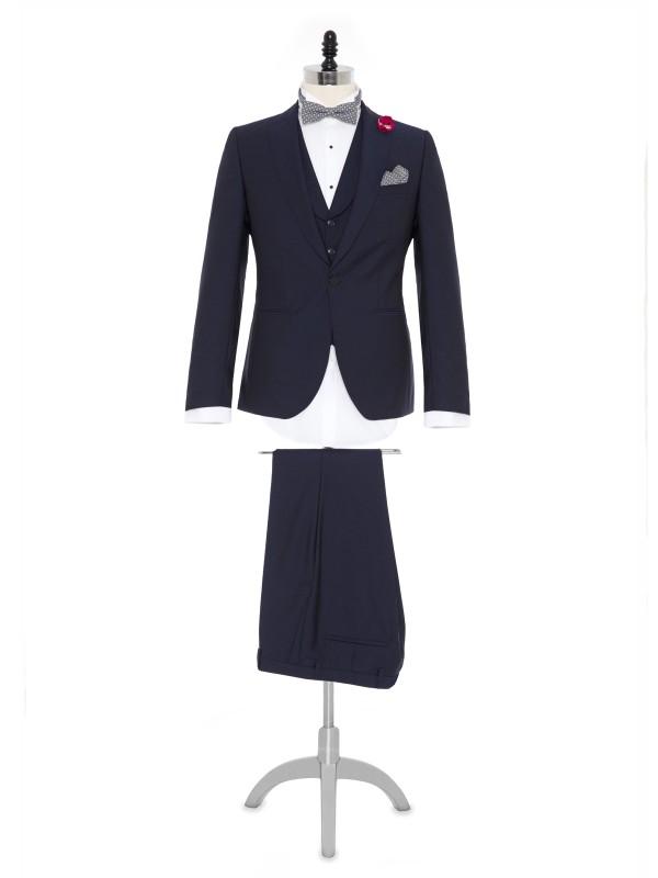 Carl Gross - Carl Gross %100 Yün Lacivert Kendinden Desenli Peak Lapel Yaka Slim Fit Yelekli Smokin Takım Elbise