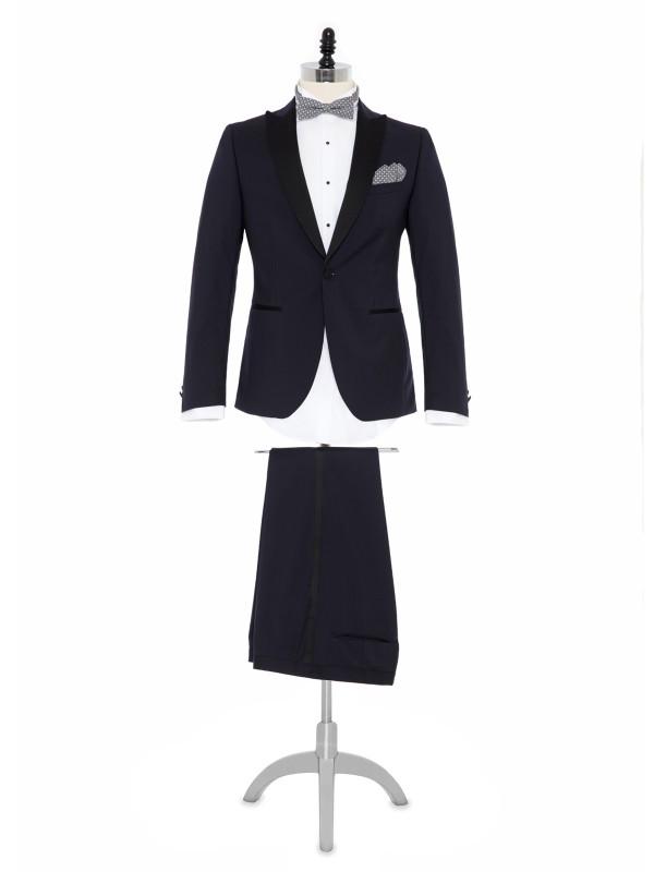 Carl Gross - Carl Gross %100 Yün Lacivert Peak Lapel Yaka Saten Garnili Slim Fit Smokin Takım Elbise