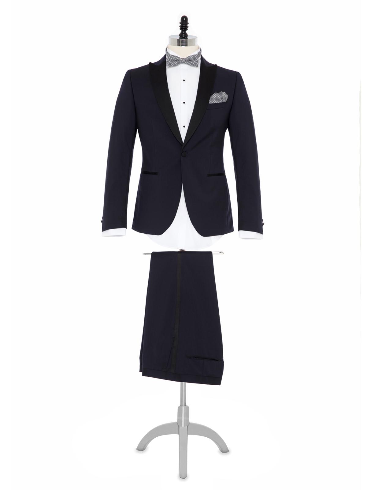 Carl Gross %100 Yün Lacivert Peak Lapel Yaka Saten Garnili Slim Fit Smokin Takım Elbise
