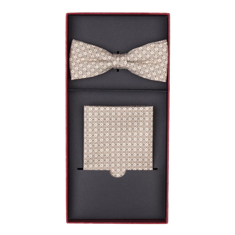 Carl Gross - Carl Gross Cotton Beige Pattern Bow Tie Handkerchief Set