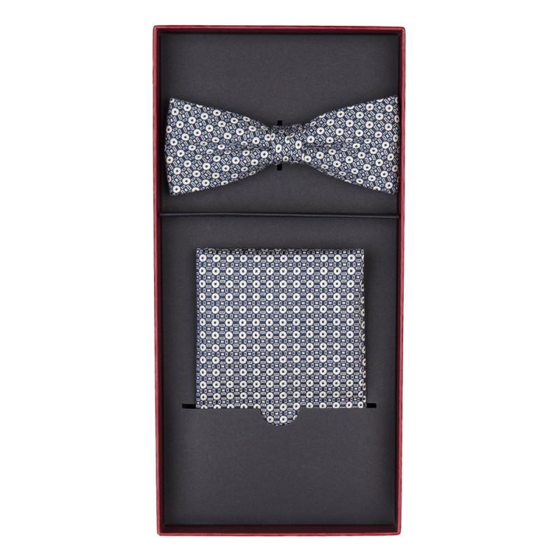 Carl Gross - Carl Gross Navy White Pattern Bow Tie Handkerchief Set