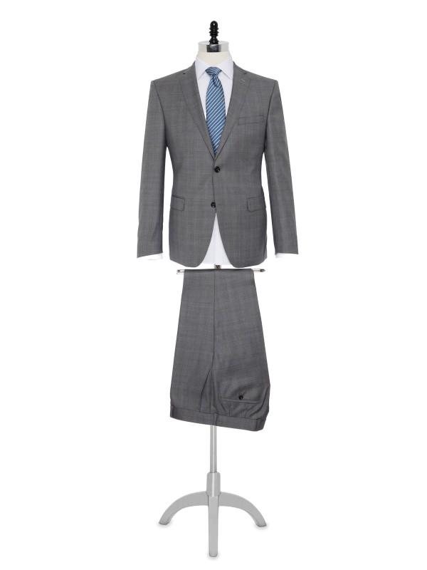 Carl Gross - Carl Gross Açık Gri Kareli Takım Elbise