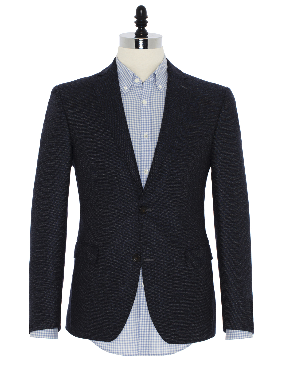 Carl Gross - Carl Gross Lacivert Tweed Yün Ceket