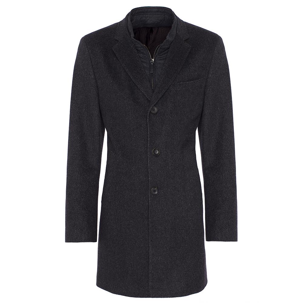 Carl Gross Diagonal Gri Yün - Kaşmir İçlikli Palto