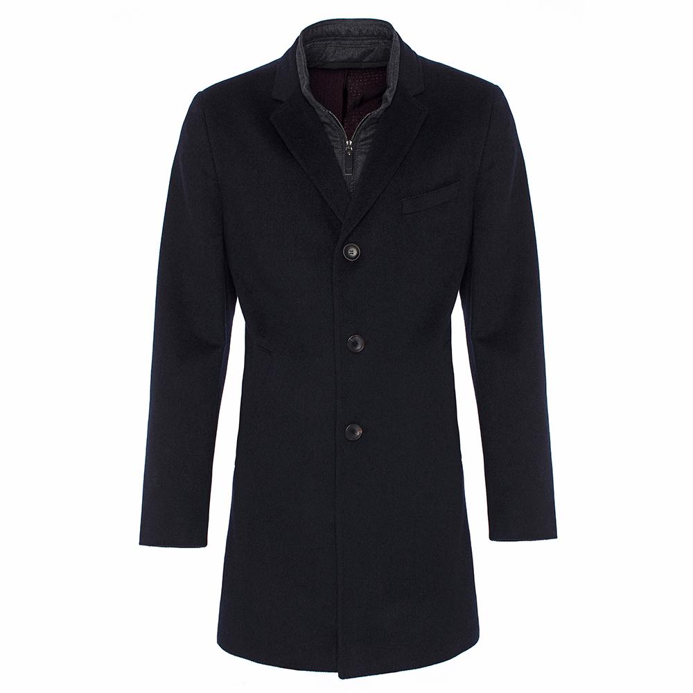 Carl Gross Diagonal Lacivert Yün Kaşmir İçlikli Palto