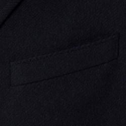 Carl Gross Diagonal Lacivert Yün Kaşmir İçlikli Palto - Thumbnail