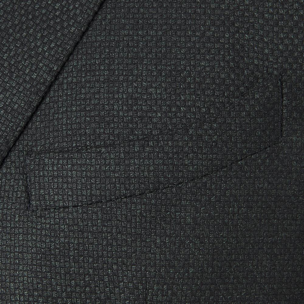 Carl Gross Dokulu Yeşil / Lacivert Yün Kaşmir Yarım Astar Ceket
