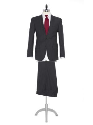 Carl Gross - Carl Gross Gri Çizgili Süperfine Australian Wool Takım Elbise