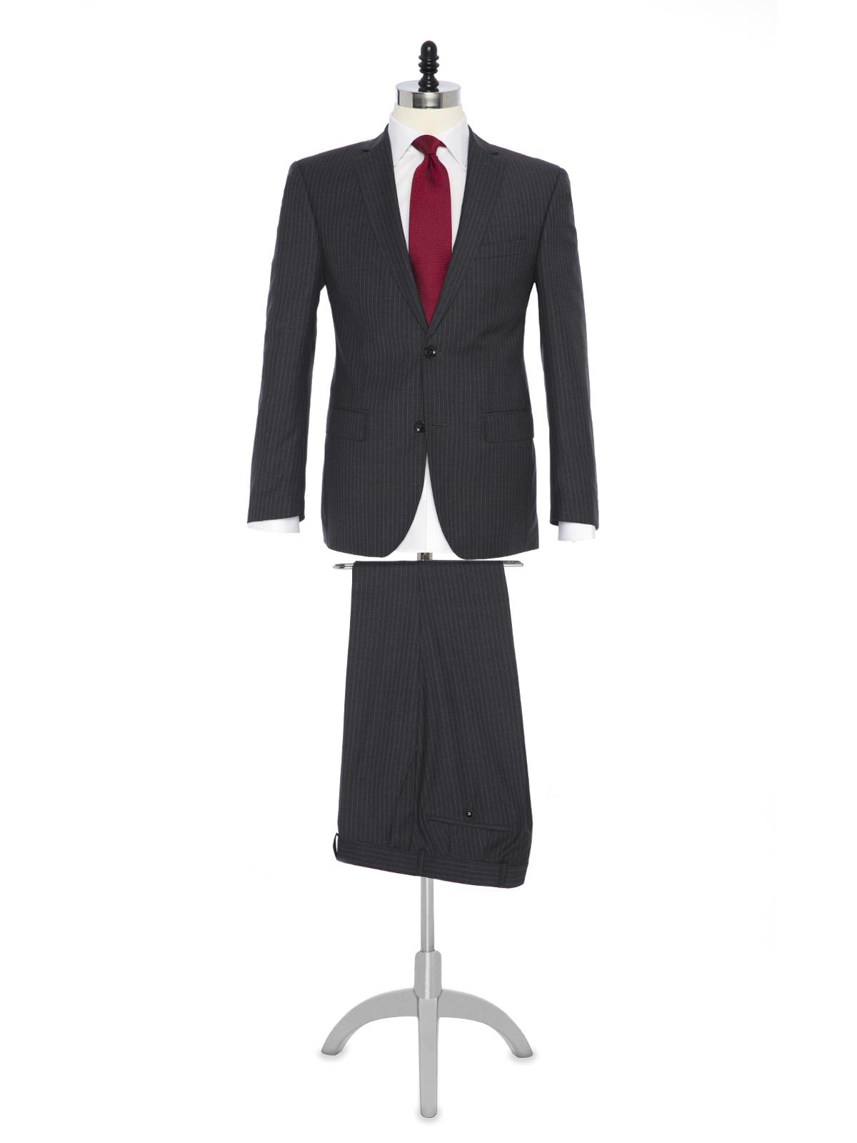 Carl Gross Gri Çizgili Süperfine Australian Wool Takım Elbise