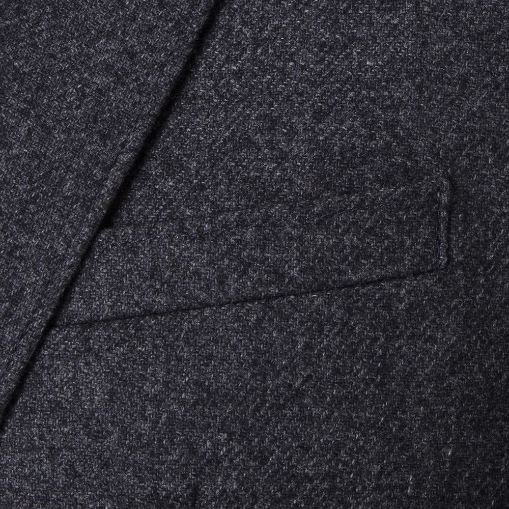 Carl Gross Gri Melanj Astarsız Slim Fit Yün-Polyester Ceket