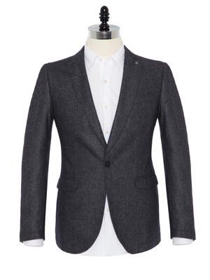 Carl Gross - Carl Gross Gri Melanj Astarsız Slim Fit Yün-Polyester Ceket