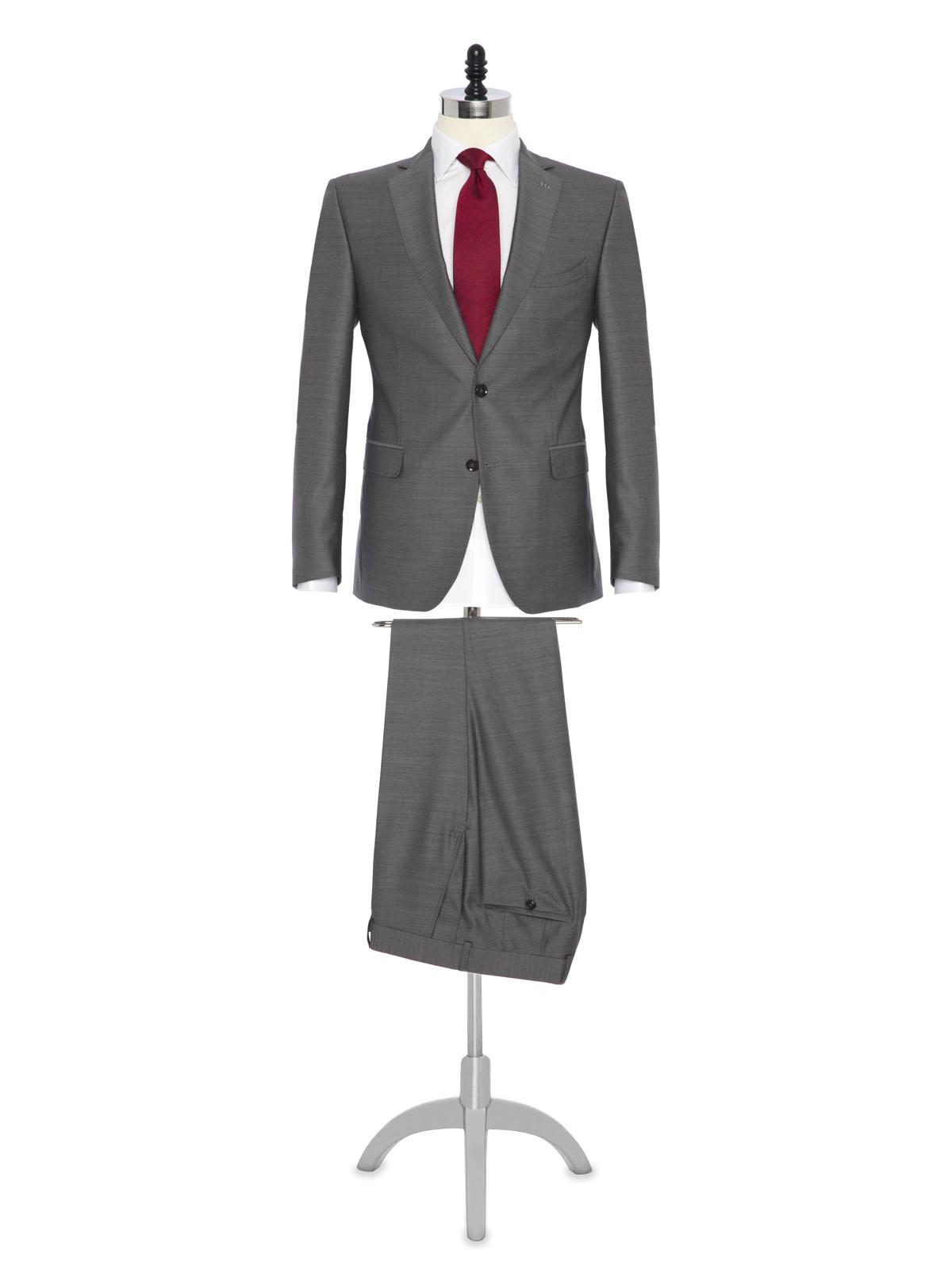 Carl Gross - Carl Gross Gri Yün İpek Takım Elbise