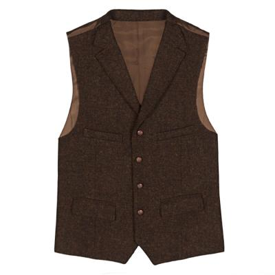 Carl Gross - Carl Gross Harris Tweed Kahve Yün Yelek